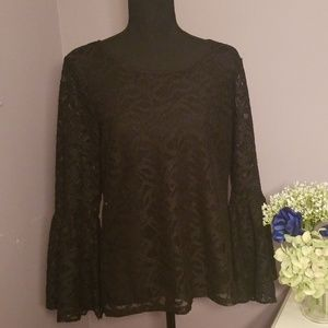 CALVIN KLEIN Black Lace Flare Sleeve top